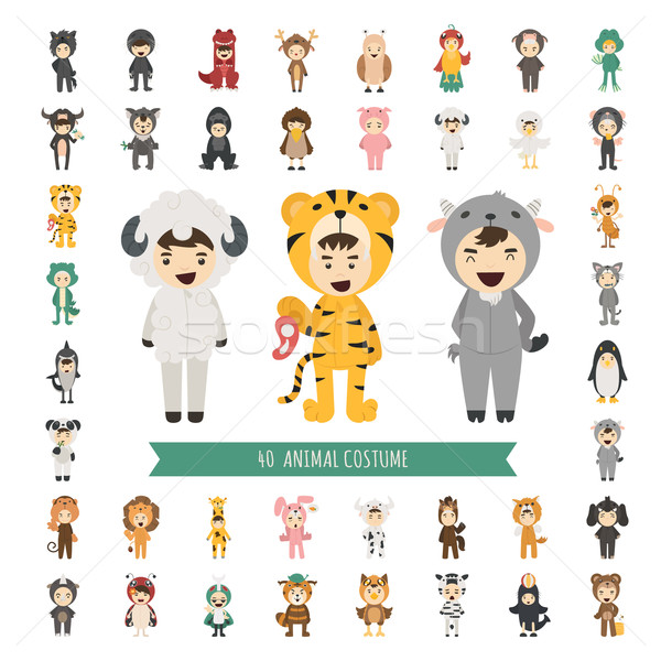 Set of 40 Animal costume characters Stock photo © ratch0013