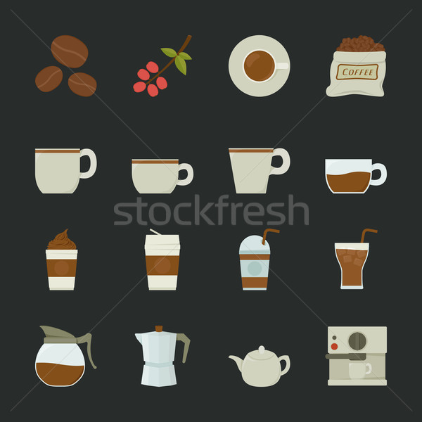 Koffie icon eps10 vector formaat voedsel Stockfoto © ratch0013