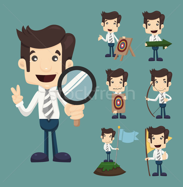 Set of businessman aimming target characters poses  Stock photo © ratch0013