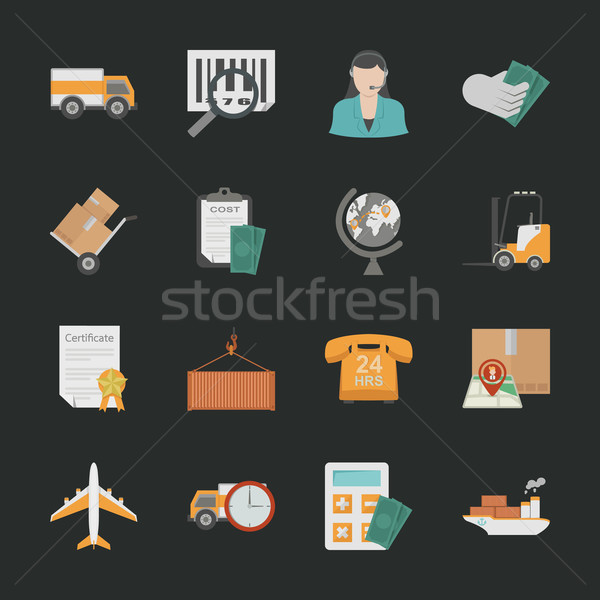 Logistics icons with black background Stock photo © ratch0013