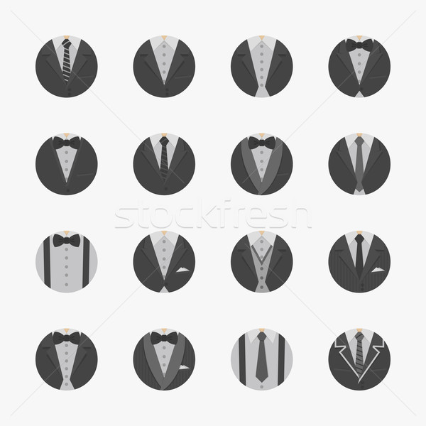 Businessman Suit Icons with White Background Stock photo © ratch0013