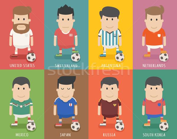 Ingesteld voetbal team uniform voetballer eps10 Stockfoto © ratch0013