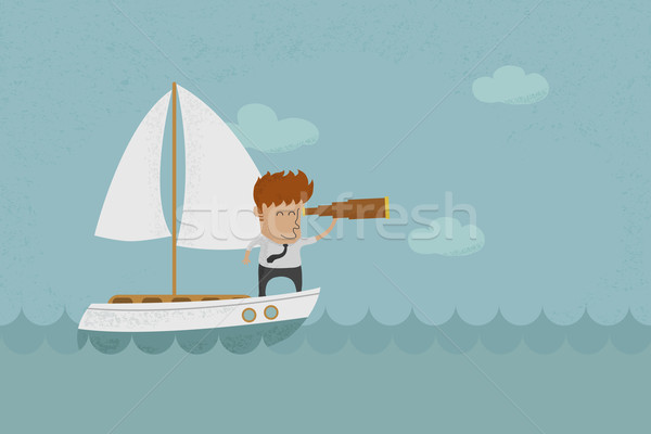 Stock photo: Business man sailing and  looking future , eps10 vector format