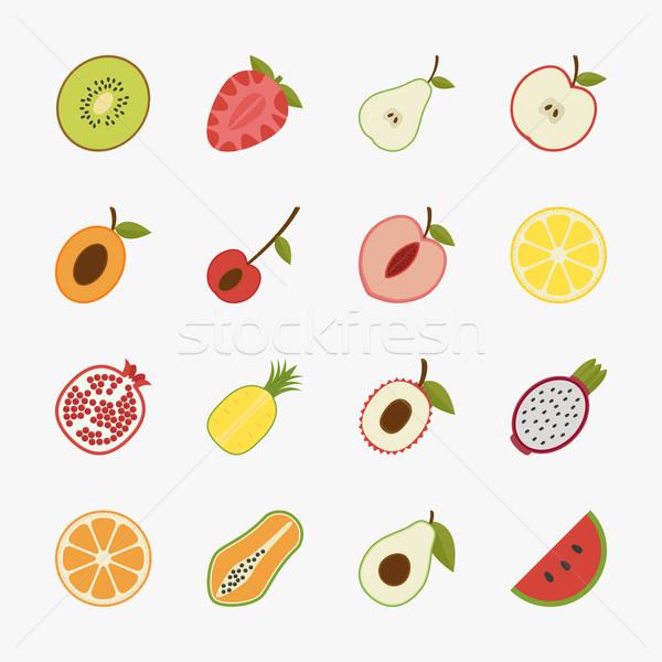 Frutas iconos blanco eps10 vector formato Foto stock © ratch0013