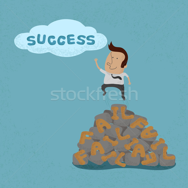 Business man jumping over the Failure go to success , symbolizin Stock photo © ratch0013