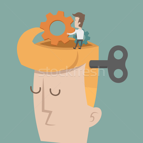 Cabeza cerebro artes progreso eps10 vector Foto stock © ratch0013