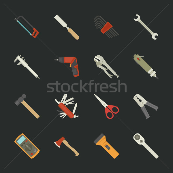 Stock photo: Hand tools icon set , flat design