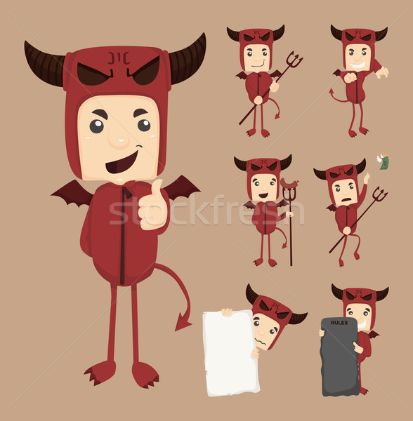 Set of devil characters poses  Stock photo © ratch0013