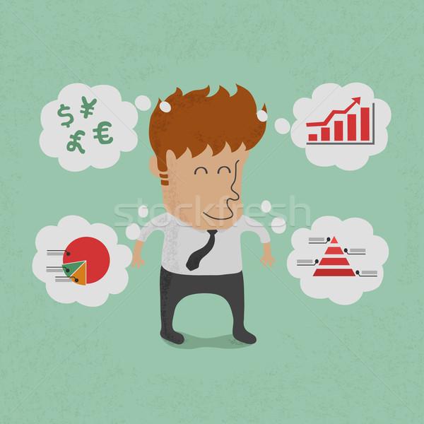 ストックフォト: ビジネスマン · 思考 · 計画 · eps10 · ベクトル · フォーマット
