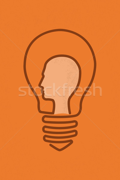 Bombilla cerebro cabeza idea eps10 vector Foto stock © ratch0013
