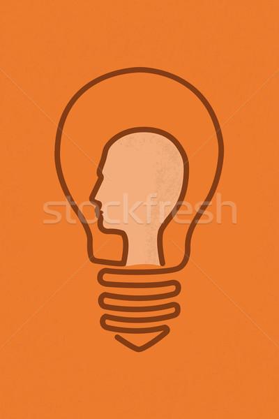 Ampoule cerveau tête idée eps10 vecteur Photo stock © ratch0013