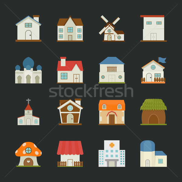 City and town buildings icons , flat design Stock photo © ratch0013