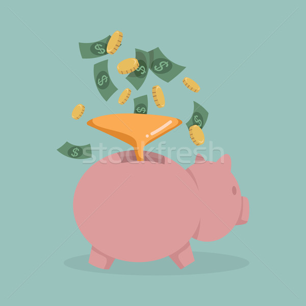 Money into a pink piggy bank  Stock photo © ratch0013