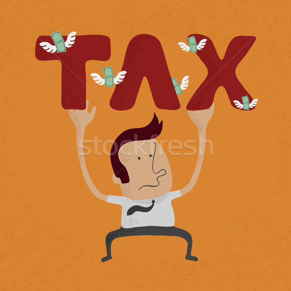 business man pinned down by heavy tax word  , eps10 vector forma Stock photo © ratch0013