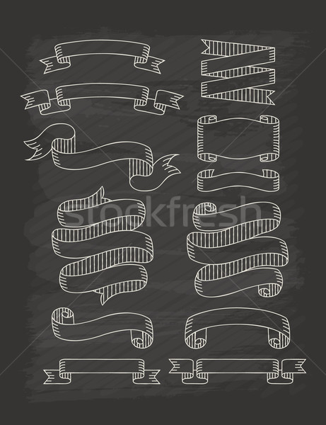 Set of ribbons  in vintage style with chalkboard Stock photo © ratch0013