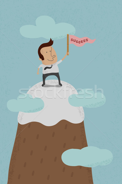 Businessman standing on the top of a high mountain  , eps10 vect Stock photo © ratch0013