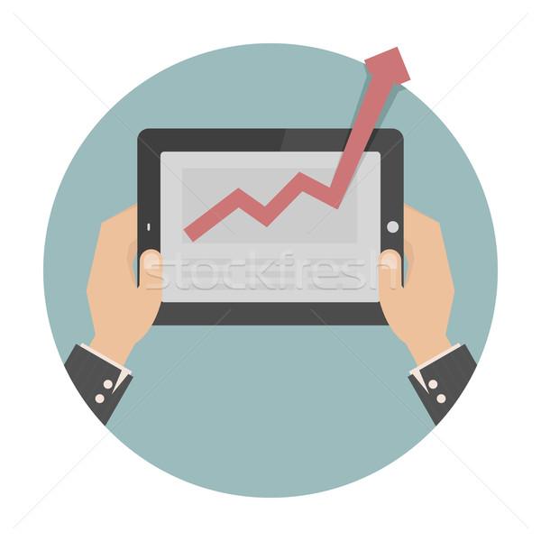 Kezek tart tabletta grafikon eps10 vektor Stock fotó © ratch0013