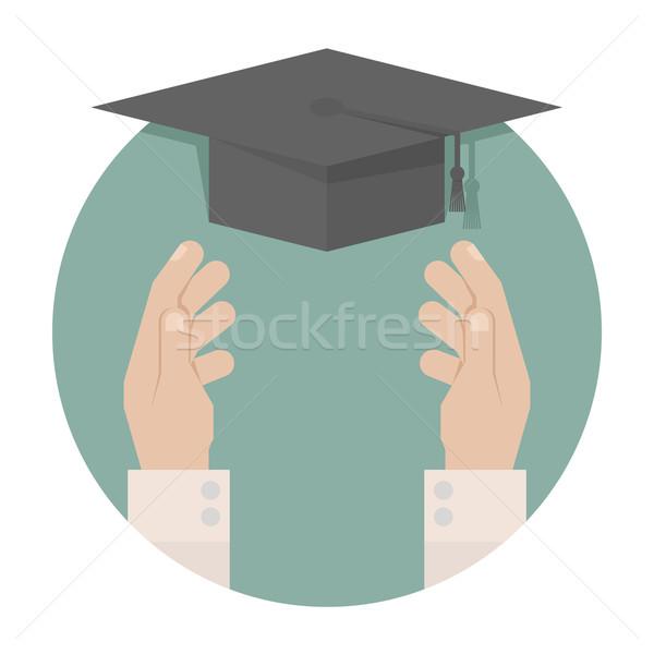Graduação boné mão eps10 vetor formato Foto stock © ratch0013