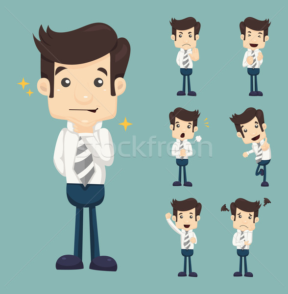 Stock photo: Set of businessman characters poses
