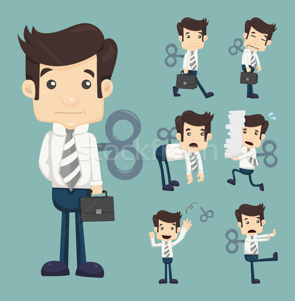 Set of businessman with wind-up key Stock photo © ratch0013