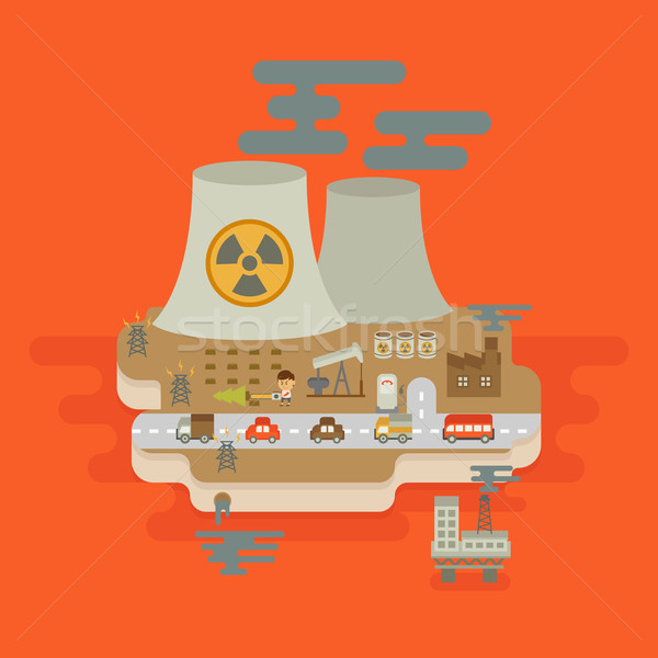 global warning concept , flat design Stock photo © ratch0013
