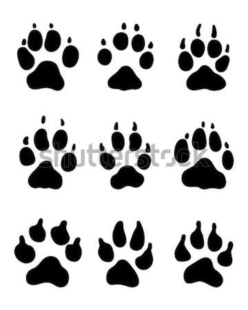 Photo stock: Imprimer · patte · chiens · noir · cadre · pied