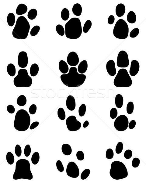 Lábnyomok fekete terv disznó sziluett állat Stock fotó © ratkom