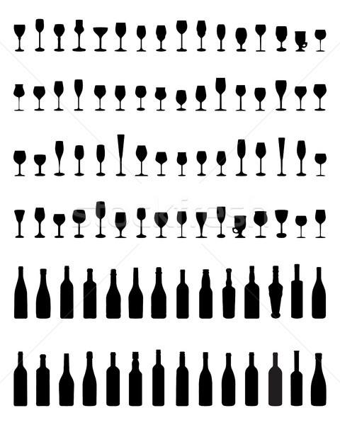 Bouteilles verres noir silhouettes blanche travaux Photo stock © ratkom