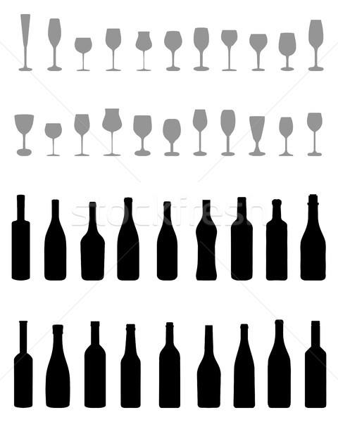 Bouteilles verres noir silhouettes blanche vin Photo stock © ratkom