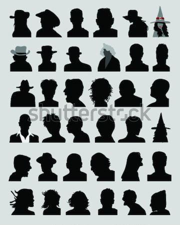Silhouettes avatar noir sexe modèle portrait Photo stock © ratkom