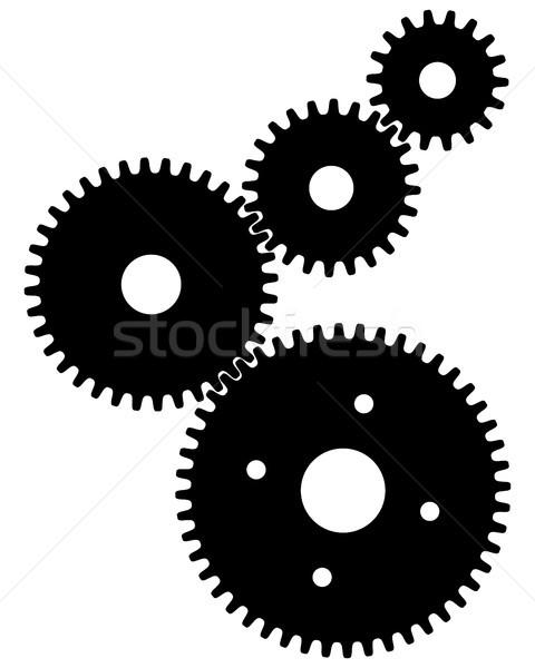 Versnellingen teamwerk zwarte symboliek technologie groep Stockfoto © ratkom