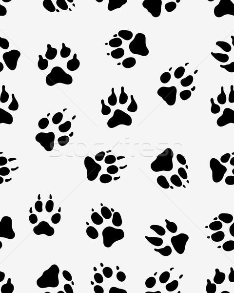 Köpek pençe siyah siluetleri dizayn Stok fotoğraf © ratkom