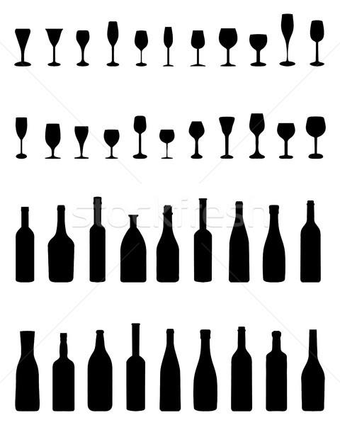Stockfoto: Flessen · bril · zwarte · silhouetten · witte · wijn