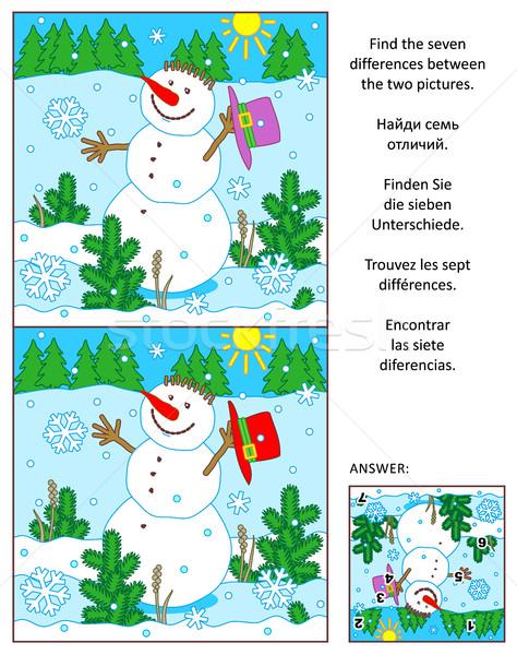 Invierno año nuevo Navidad encontrar diferencias Foto Foto stock © ratselmeister
