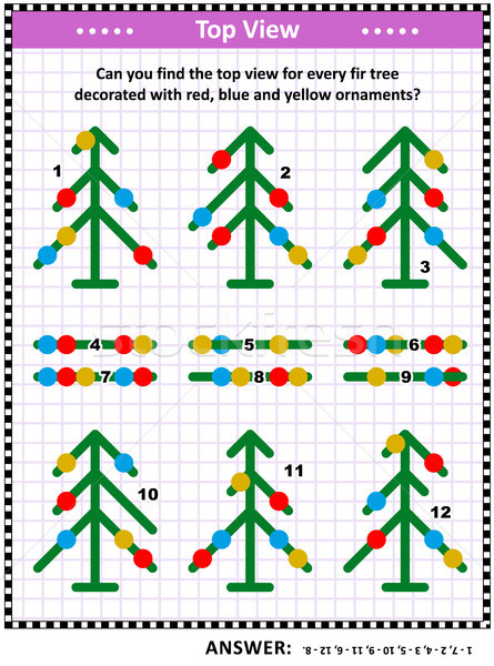 Top view visual puzzle with fir trees and christmas ornaments Stock photo © ratselmeister