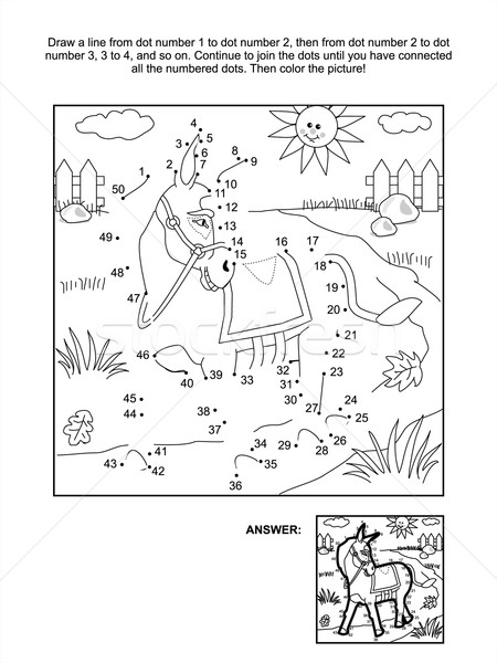 Dot-to-dot and coloring page - donkey Stock photo © ratselmeister
