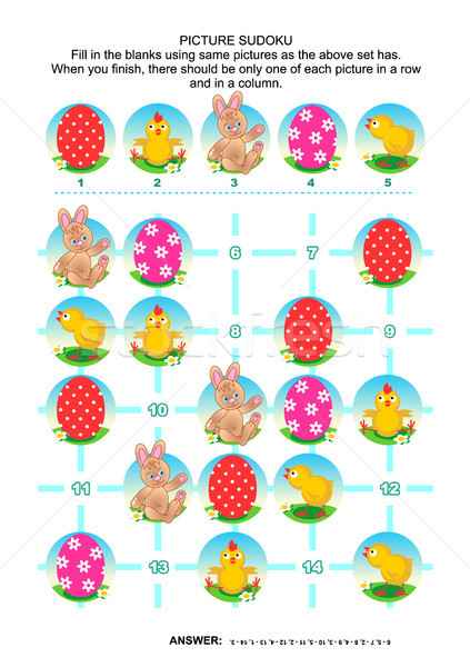 Picture sudoku puzzle, Easter themed Stock photo © ratselmeister