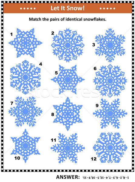 Visual puzzle - match the pairs of identical snowflakes Stock photo © ratselmeister