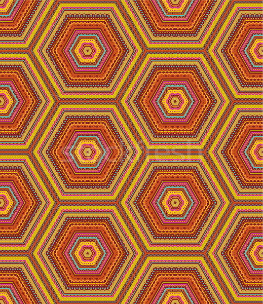 Seamless kashmir (cashmere), paisley or country geometric hexagonal pattern of autumn colors Stock photo © ratselmeister