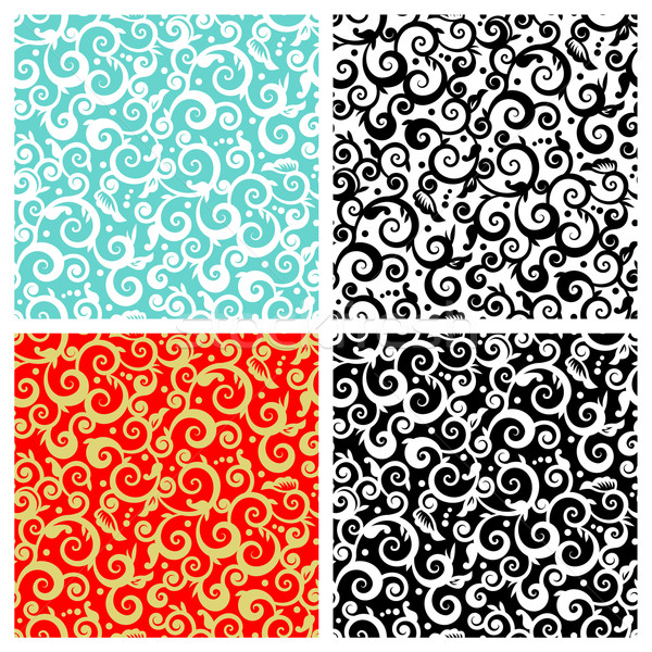 Seamless floral swirls and scrolls patterns Stock photo © ratselmeister