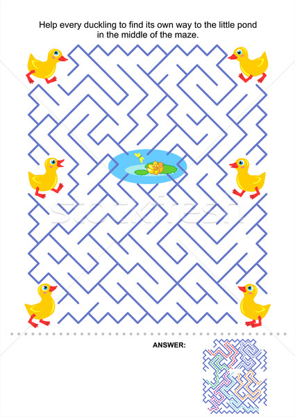 Maze game for kids - ducklings and pond Stock photo © ratselmeister