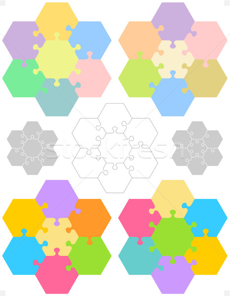 Hexagonal jigsaw puzzles Stock photo © ratselmeister