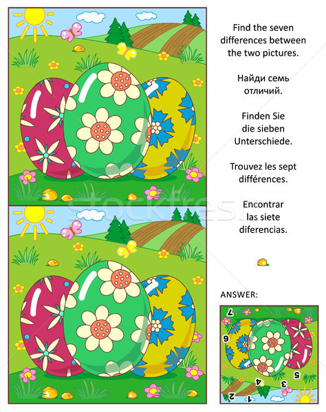 Find the differences picture puzzle with three Easter eggs Stock photo © ratselmeister