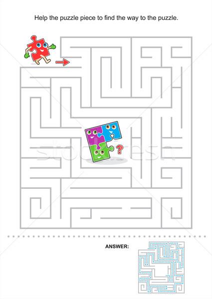 Labirinto jogo crianças ajudar quebra-cabeça peça Foto stock © ratselmeister