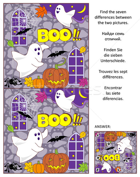 Halloween find the differences picture puzzle with two little ghosts Stock photo © ratselmeister