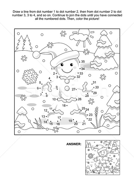 Dot-to-dot and coloring page with ginger man Stock photo © ratselmeister