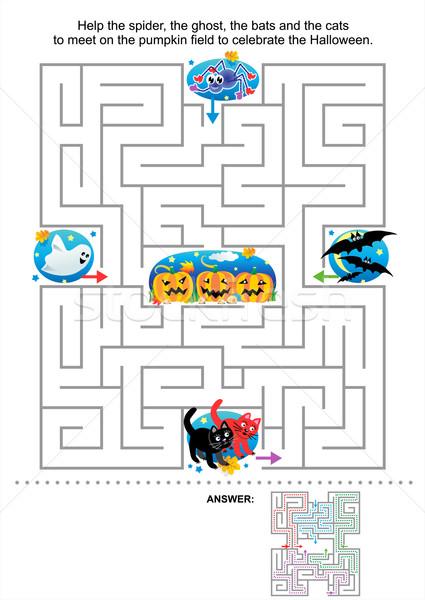 Halloween labirinto jogo crianças ajudar aranha Foto stock © ratselmeister