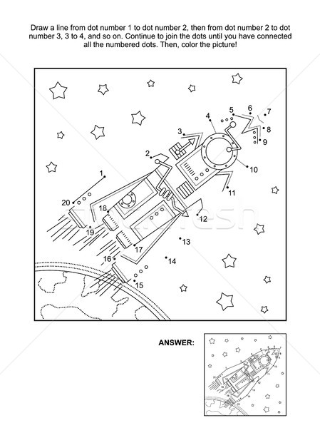 Dot-to-dot and coloring activity page - rocket, or spaceship Stock photo © ratselmeister