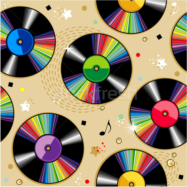 Naadloos vinyl records patroon abstract retro Stockfoto © ratselmeister