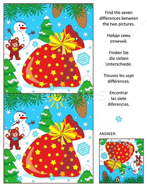 Holiday find the differences puzzle with Santa's sack Stock photo © ratselmeister